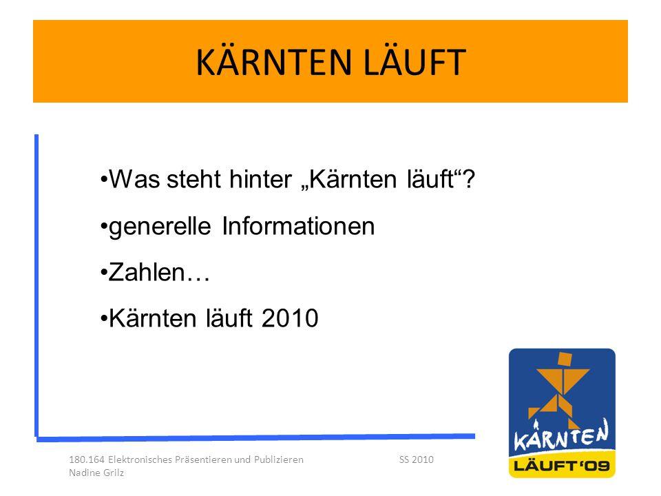 """KÄRNTEN LÄUFT 180.164 Elektronisches Präsentieren und Publizieren SS 2010 Nadine Grilz Was steht hinter """"Kärnten läuft""""? generelle Informationen Zahle"""