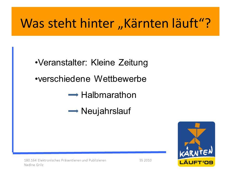 """Was steht hinter """"Kärnten läuft""""? 180.164 Elektronisches Präsentieren und Publizieren SS 2010 Nadine Grilz Veranstalter: Kleine Zeitung verschiedene W"""