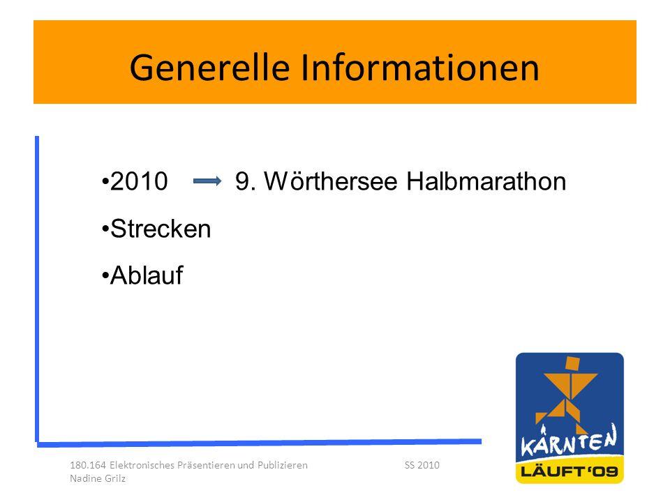Generelle Informationen 180.164 Elektronisches Präsentieren und Publizieren SS 2010 Nadine Grilz 2010 9. Wörthersee Halbmarathon Strecken Ablauf