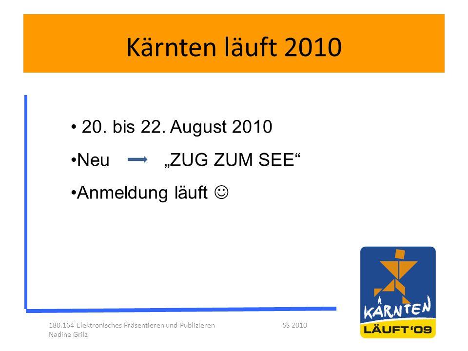"""Kärnten läuft 2010 180.164 Elektronisches Präsentieren und Publizieren SS 2010 Nadine Grilz 20. bis 22. August 2010 Neu""""ZUG ZUM SEE"""" Anmeldung läuft"""