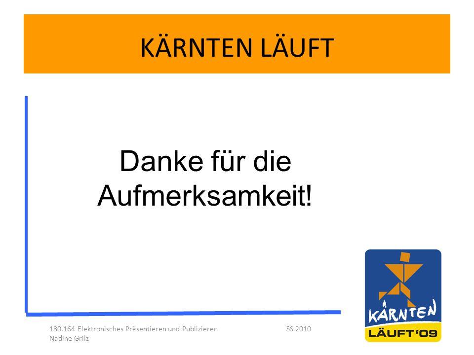 KÄRNTEN LÄUFT 180.164 Elektronisches Präsentieren und Publizieren SS 2010 Nadine Grilz Danke für die Aufmerksamkeit!