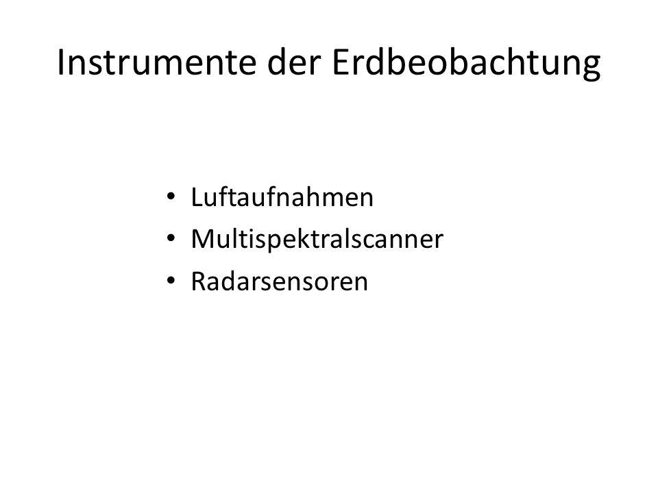 Instrumente der Erdbeobachtung Luftaufnahmen Multispektralscanner Radarsensoren