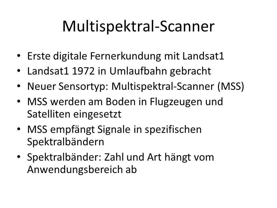 Multispektral-Scanner Erste digitale Fernerkundung mit Landsat1 Landsat1 1972 in Umlaufbahn gebracht Neuer Sensortyp: Multispektral-Scanner (MSS) MSS