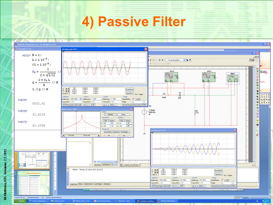 NI Multisim, HTL-Seminar, 2.2.2012 4) Passive Filter