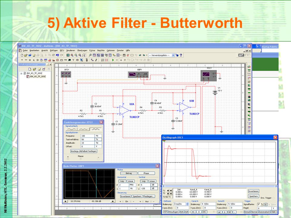 NI Multisim, HTL-Seminar, 2.2.2012 5) Aktive Filter - Butterworth