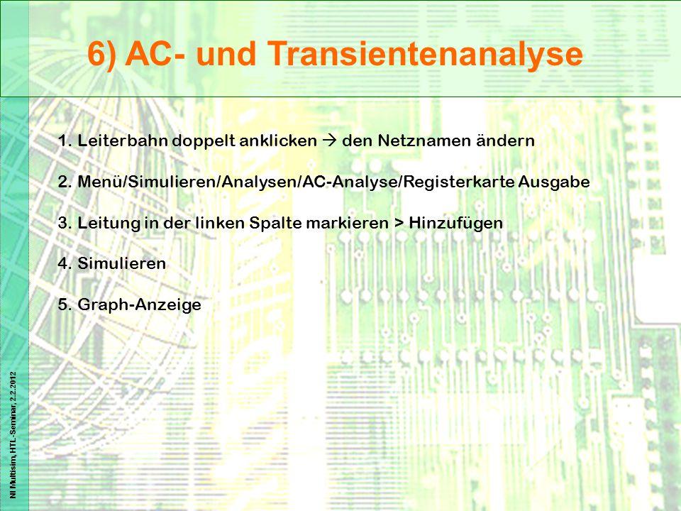 NI Multisim, HTL-Seminar, 2.2.2012 6) AC- und Transientenanalyse 1. Leiterbahn doppelt anklicken  den Netznamen ändern 2. Menü/Simulieren/Analysen/AC