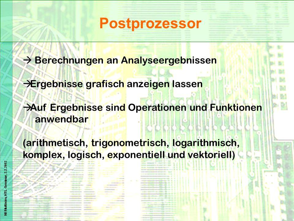 NI Multisim, HTL-Seminar, 2.2.2012 Postprozessor  Berechnungen an Analyseergebnissen  Ergebnisse grafisch anzeigen lassen  Auf Ergebnisse sind Oper