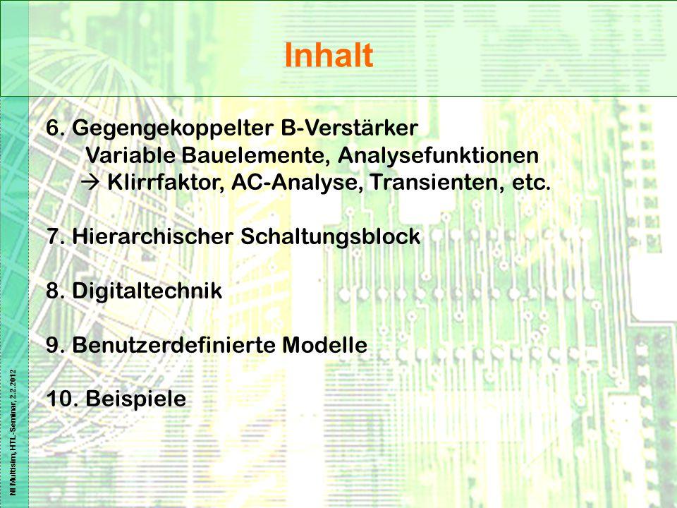 NI Multisim, HTL-Seminar, 2.2.2012 Inhalt 6. Gegengekoppelter B-Verstärker Variable Bauelemente, Analysefunktionen  Klirrfaktor, AC-Analyse, Transien