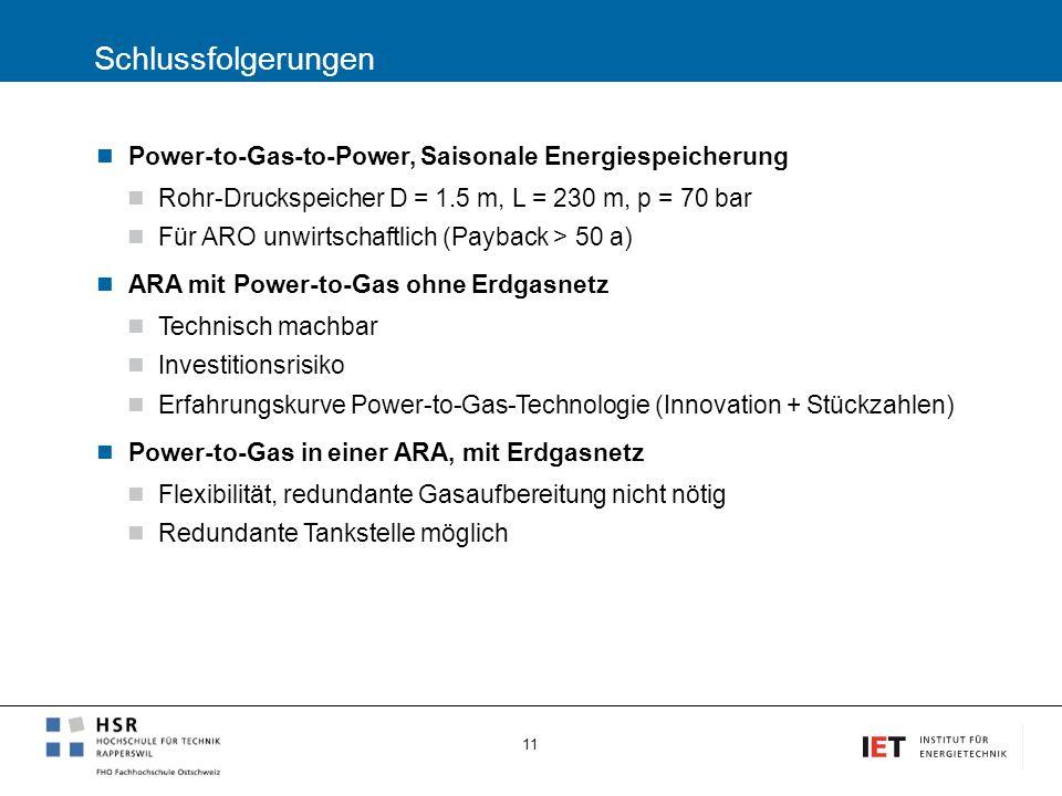 Schlussfolgerungen Power-to-Gas-to-Power, Saisonale Energiespeicherung Rohr-Druckspeicher D = 1.5 m, L = 230 m, p = 70 bar Für ARO unwirtschaftlich (P