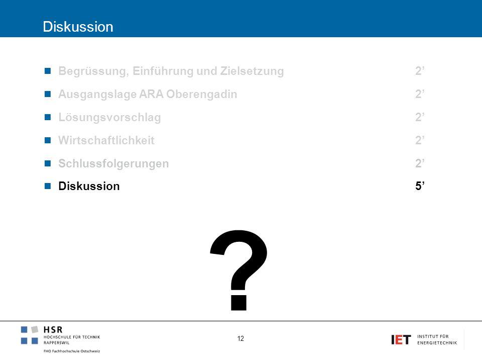 Diskussion Begrüssung, Einführung und Zielsetzung2' Ausgangslage ARA Oberengadin2' Lösungsvorschlag 2' Wirtschaftlichkeit2' Schlussfolgerungen 2' Disk