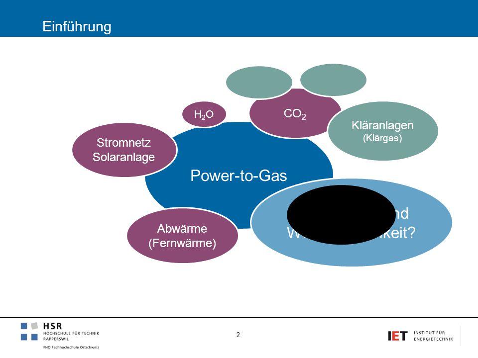 Einführung 2 Power-to-Gas CO 2 H2OH2O Stromnetz Solaranlage Erdgasnetz Abwärme (Fernwärme) Kläranlagen (Klärgas) Alternativen und Wirtschaftlichkeit?