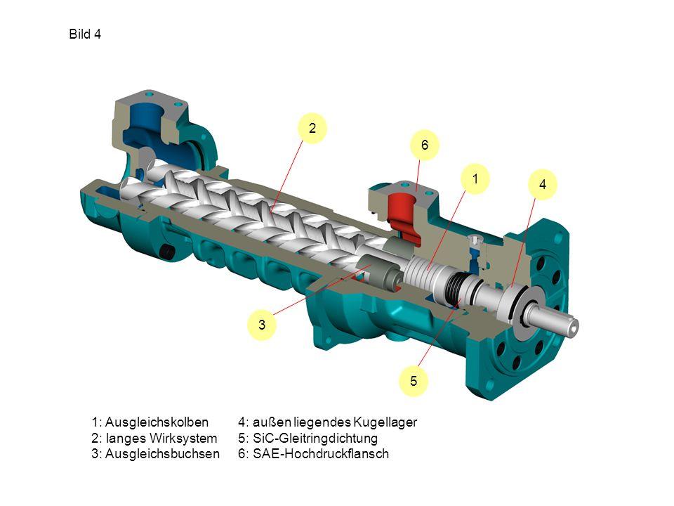 Bild 4 1: Ausgleichskolben 2: langes Wirksystem 3: Ausgleichsbuchsen 4: außen liegendes Kugellager 5: SiC-Gleitringdichtung 6: SAE-Hochdruckflansch 1
