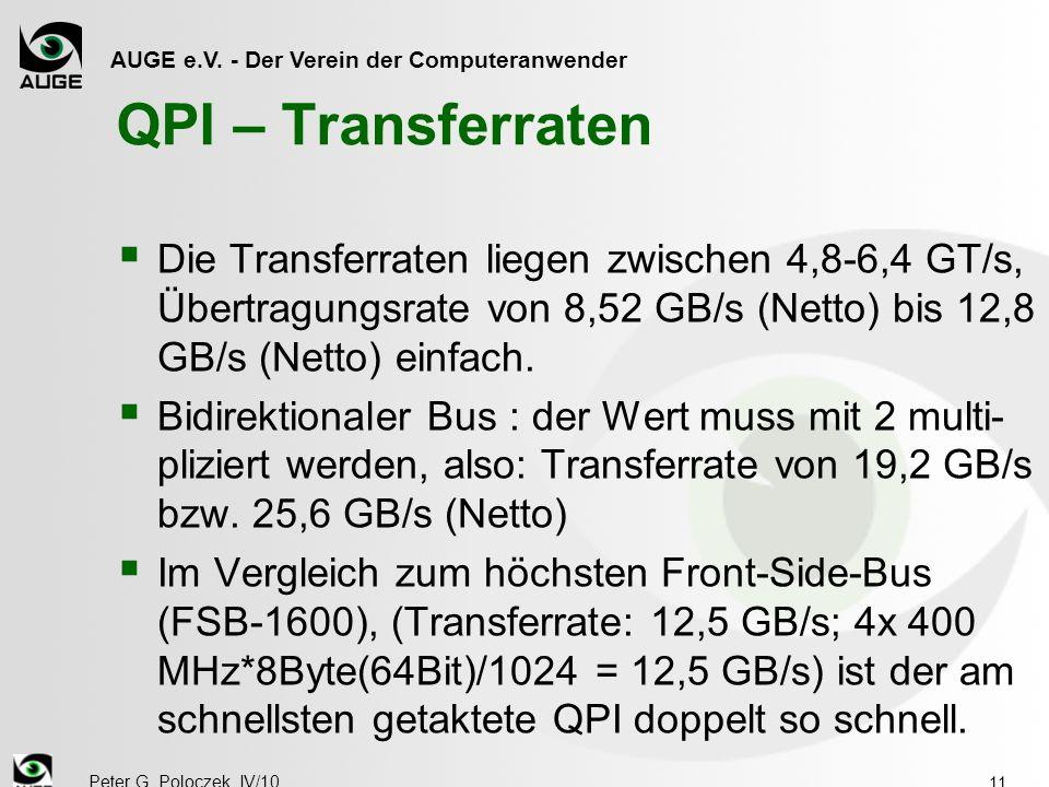 AUGE e.V. - Der Verein der Computeranwender Peter G. Poloczek, IV/10 11 QPI – Transferraten  Die Transferraten liegen zwischen 4,8-6,4 GT/s, Übertrag