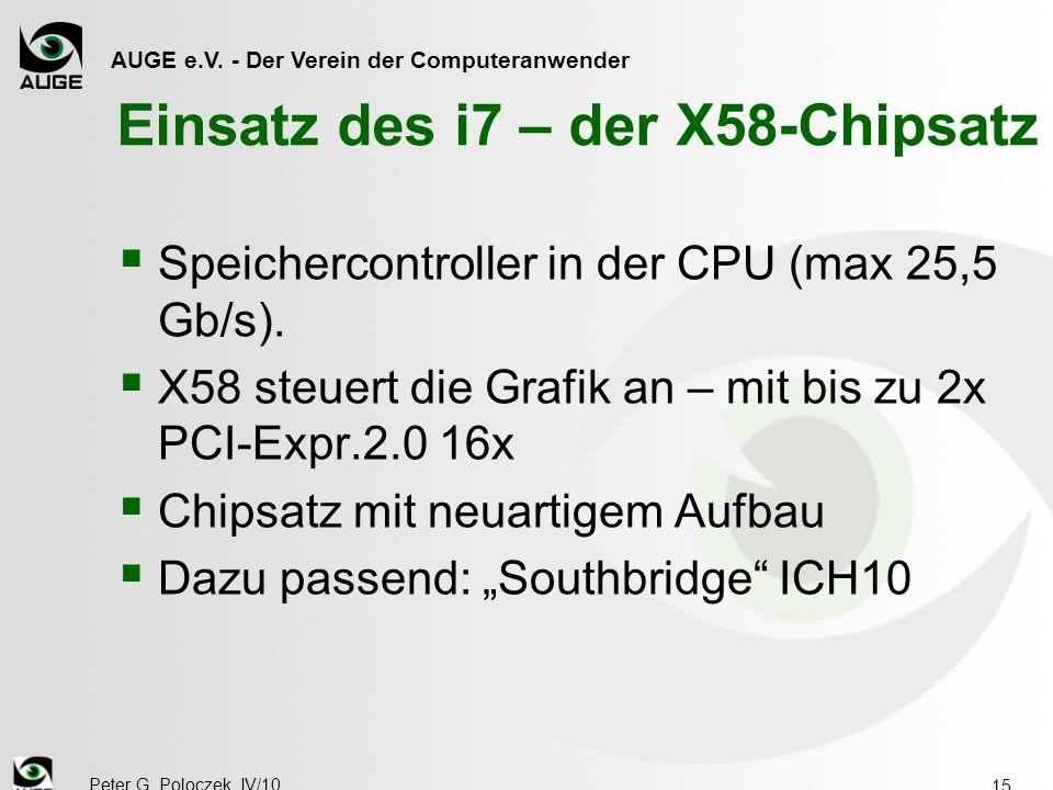 AUGE e.V. - Der Verein der Computeranwender Peter G. Poloczek, IV/10 15 Einsatz des i7 – der X58-Chipsatz  Speichercontroller in der CPU (max 25,5 Gb