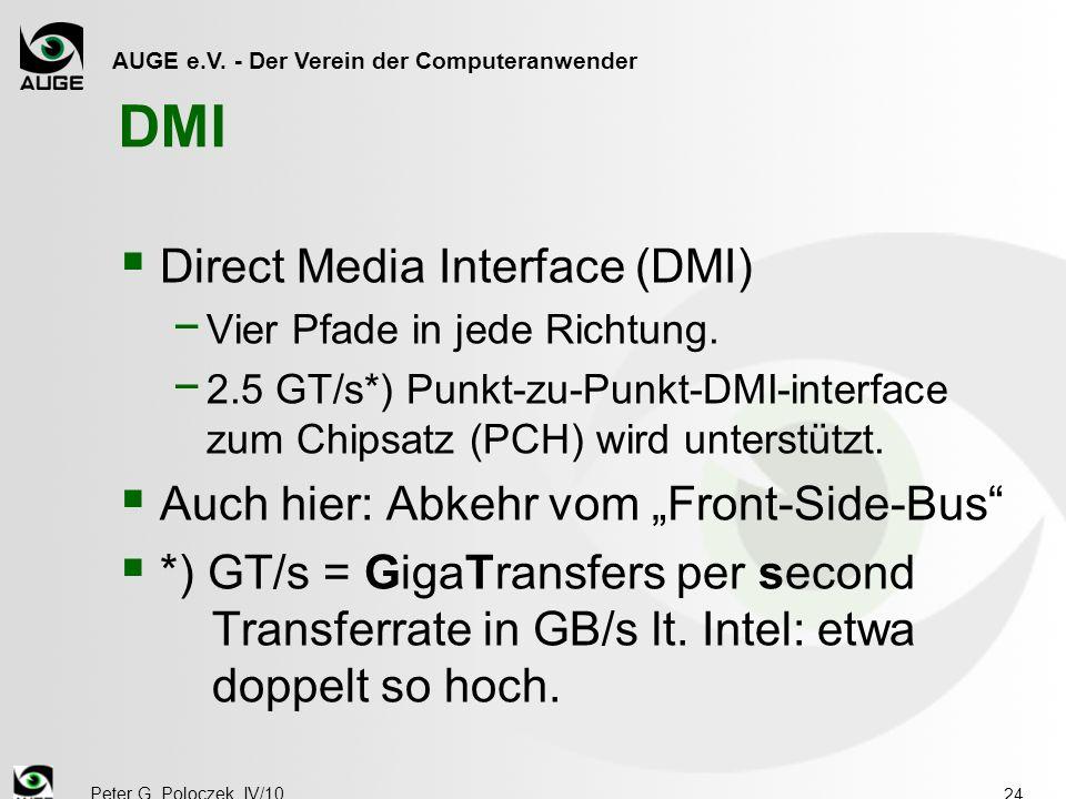 AUGE e.V. - Der Verein der Computeranwender Peter G. Poloczek, IV/10 24 DMI  Direct Media Interface (DMI) − Vier Pfade in jede Richtung. − 2.5 GT/s*)