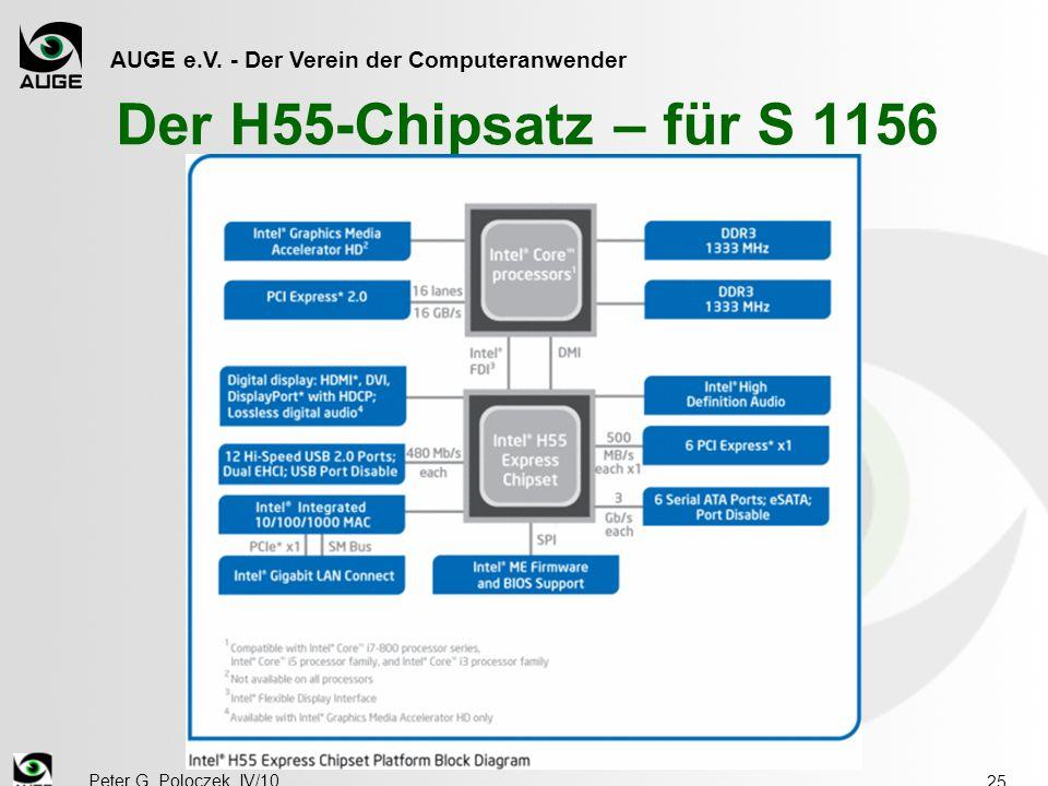 AUGE e.V. - Der Verein der Computeranwender Peter G. Poloczek, IV/10 25 Der H55-Chipsatz – für S 1156
