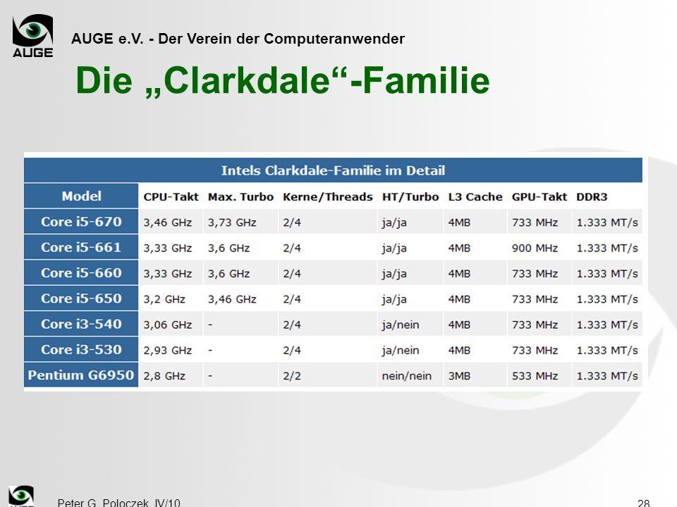 """AUGE e.V. - Der Verein der Computeranwender Peter G. Poloczek, IV/10 28 Die """"Clarkdale -Familie"""