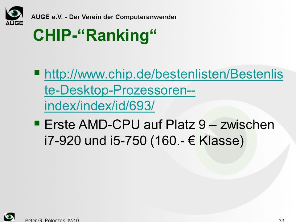 """AUGE e.V. - Der Verein der Computeranwender Peter G. Poloczek, IV/10 33 CHIP-""""Ranking""""  http://www.chip.de/bestenlisten/Bestenlis te-Desktop-Prozesso"""