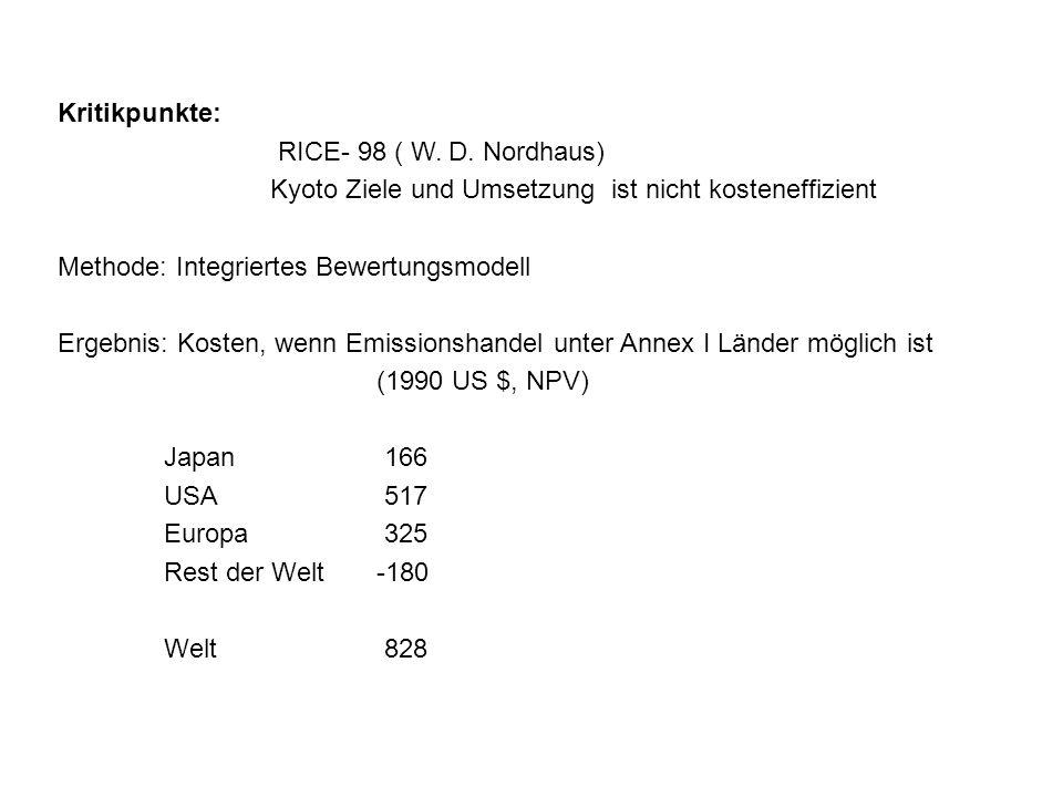 Kritikpunkte: RICE- 98 ( W. D. Nordhaus) Kyoto Ziele und Umsetzung ist nicht kosteneffizient Methode: Integriertes Bewertungsmodell Ergebnis: Kosten,