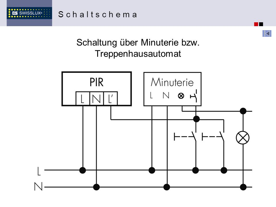 Schaltung über Minuterie bzw. Treppenhausautomat S c h a l t s c h e m a