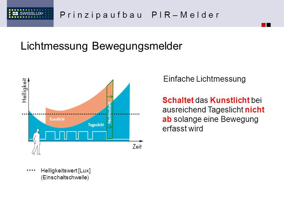 Lichtmessung Bewegungsmelder P r i n z i p a u f b a u P I R – M e l d e r Einfache Lichtmessung Helligkeitswert [Lux] (Einschaltschwelle) Schaltet da