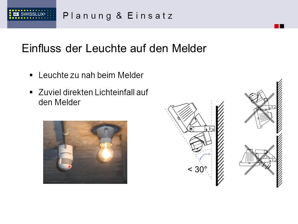 Einfluss der Leuchte auf den Melder  Leuchte zu nah beim Melder P l a n u n g & E i n s a t z < 30°  Zuviel direkten Lichteinfall auf den Melder