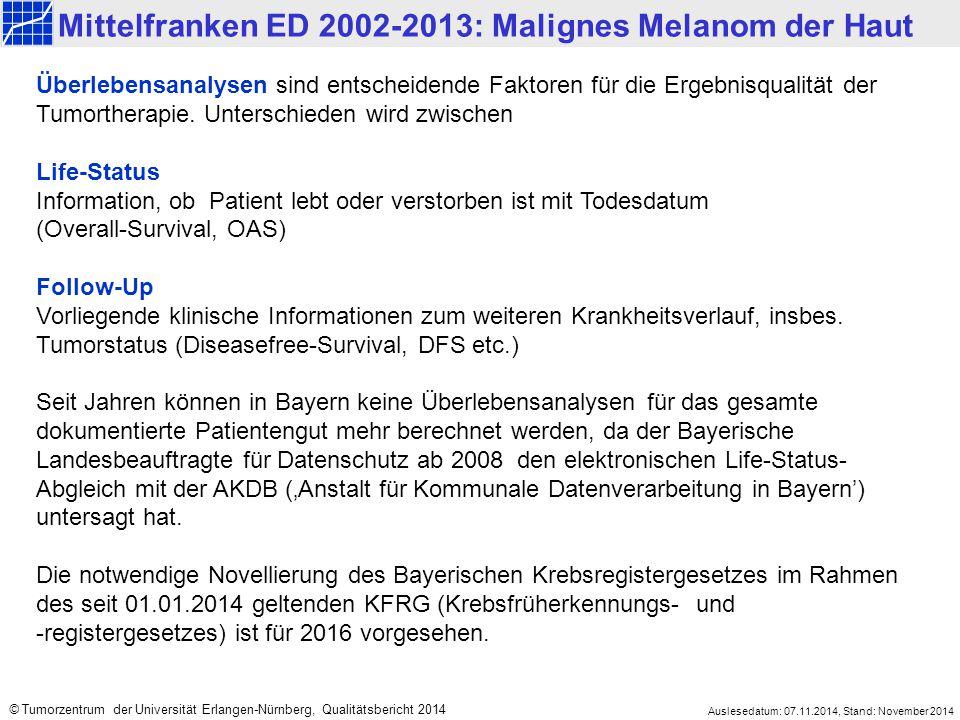 Mittelfranken ED 2002-2013: Malignes Melanom der Haut Auslesedatum: 07.11.2014, Stand: November 2014 © Tumorzentrum der Universität Erlangen-Nürnberg, Qualitätsbericht 2014 Überlebensanalysen sind entscheidende Faktoren für die Ergebnisqualität der Tumortherapie.