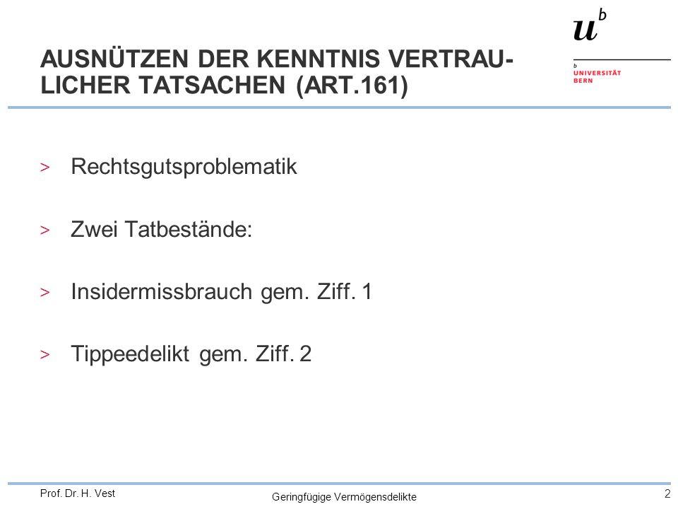Geringfügige Vermögensdelikte 3 Prof.Dr. H. Vest INSIDERMISSBRAUCH (ART.161 ZIFF.