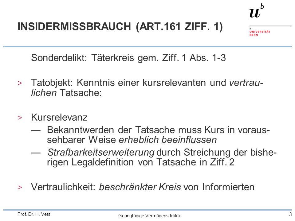 Geringfügige Vermögensdelikte 4 Prof.Dr. H. Vest INSIDERMISSBRAUCH (ART.161 ZIFF.