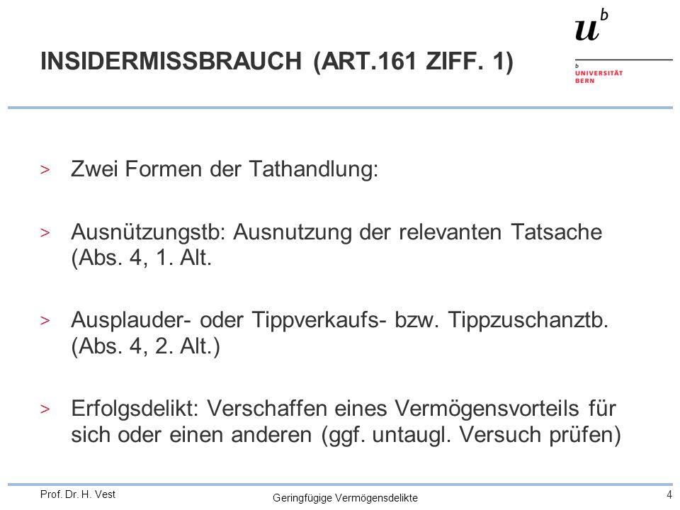 Geringfügige Vermögensdelikte 4 Prof. Dr. H. Vest INSIDERMISSBRAUCH (ART.161 ZIFF.