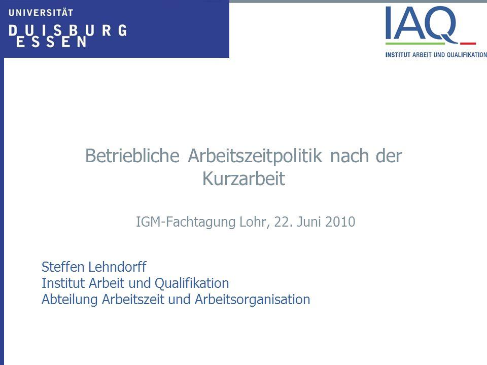 Betriebliche Arbeitszeitpolitik nach der Kurzarbeit IGM-Fachtagung Lohr, 22. Juni 2010 Steffen Lehndorff Institut Arbeit und Qualifikation Abteilung A