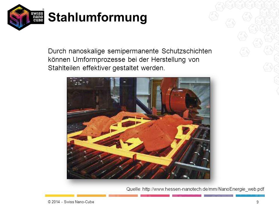 © 2014 - Swiss Nano-Cube Stahlumformung 9 Durch nanoskalige semipermanente Schutzschichten können Umformprozesse bei der Herstellung von Stahlteilen effektiver gestaltet werden.