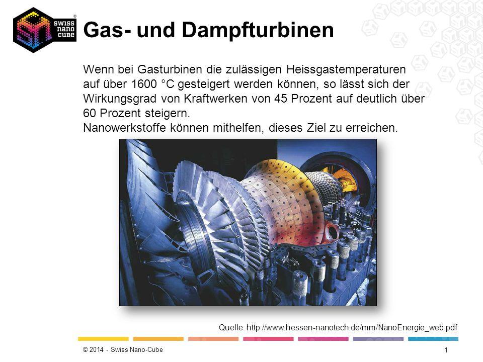 © 2014 - Swiss Nano-Cube Gas- und Dampfturbinen 1 Wenn bei Gasturbinen die zulässigen Heissgastemperaturen auf über 1600 °C gesteigert werden können, so lässt sich der Wirkungsgrad von Kraftwerken von 45 Prozent auf deutlich über 60 Prozent steigern.