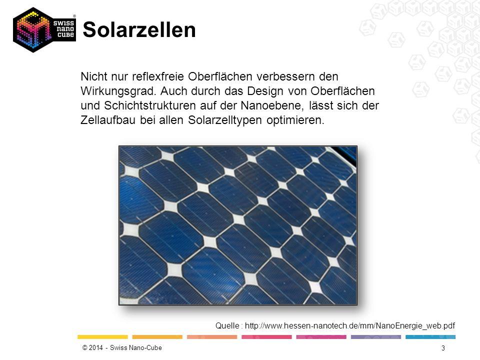 © 2014 - Swiss Nano-Cube Solarzellen 3 Nicht nur reflexfreie Oberflächen verbessern den Wirkungsgrad.