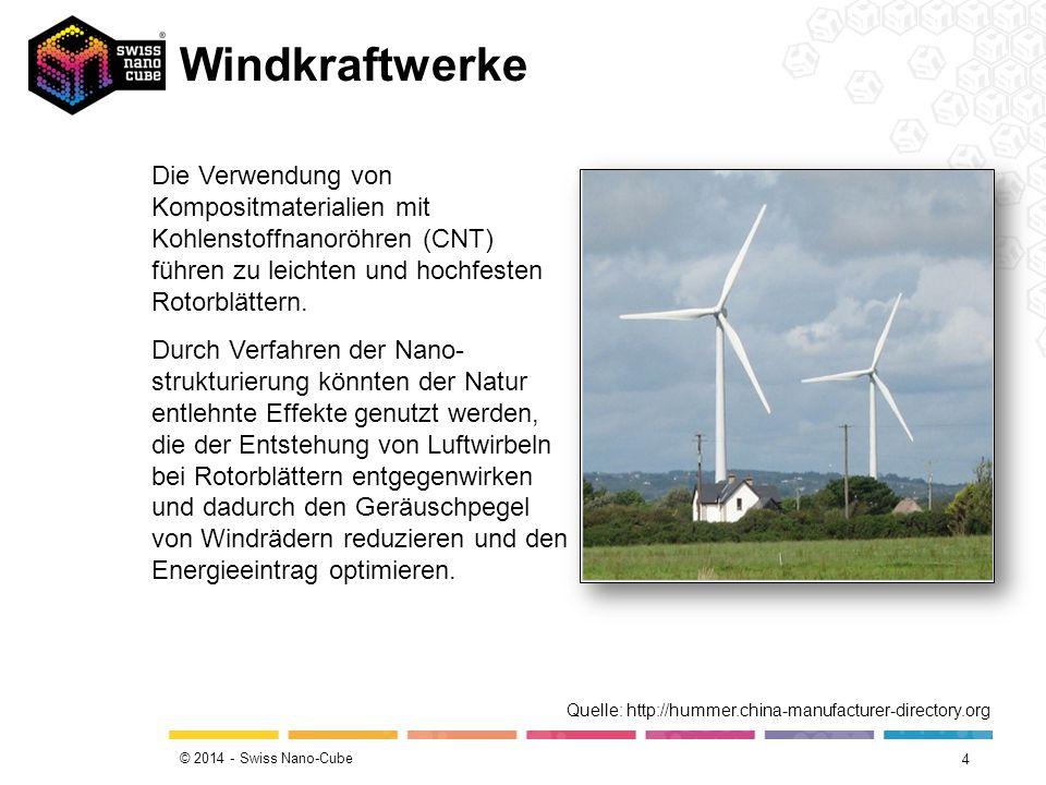 © 2014 - Swiss Nano-Cube Windkraftwerke 4 Die Verwendung von Kompositmaterialien mit Kohlenstoffnanoröhren (CNT) führen zu leichten und hochfesten Rotorblättern.