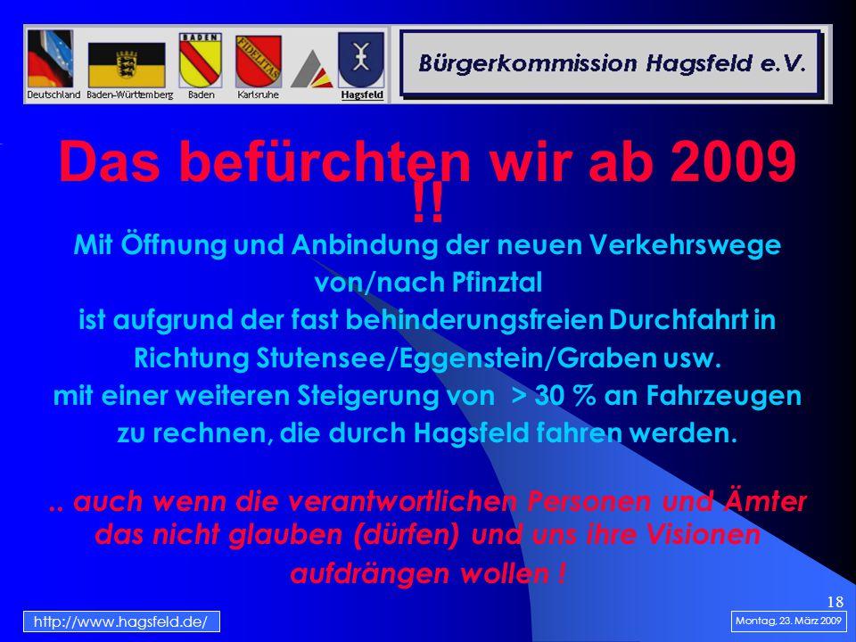 18 Das befürchten wir ab 2009 !. Montag, 23.