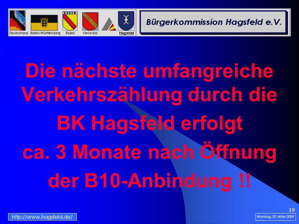 19 Die nächste umfangreiche Verkehrszählung durch die BK Hagsfeld erfolgt ca. 3 Monate nach Öffnung der B10-Anbindung !! Montag, 23. März 2009 http://