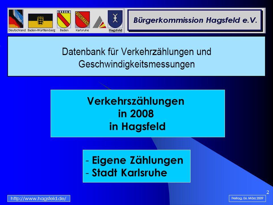 3 1-Tag-Zählung im Juli 2008 in 24 Stunden Freitag, 06. März 2009 http://www.hagsfeld.de/