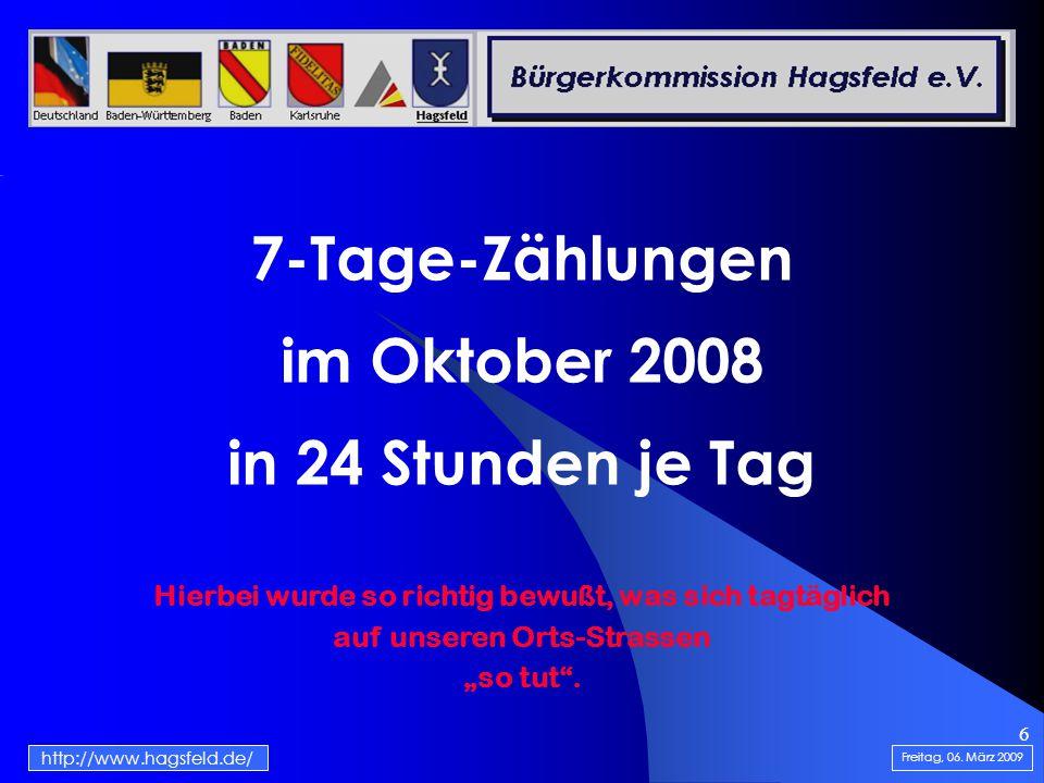 6 7-Tage-Zählungen im Oktober 2008 in 24 Stunden je Tag Freitag, 06.
