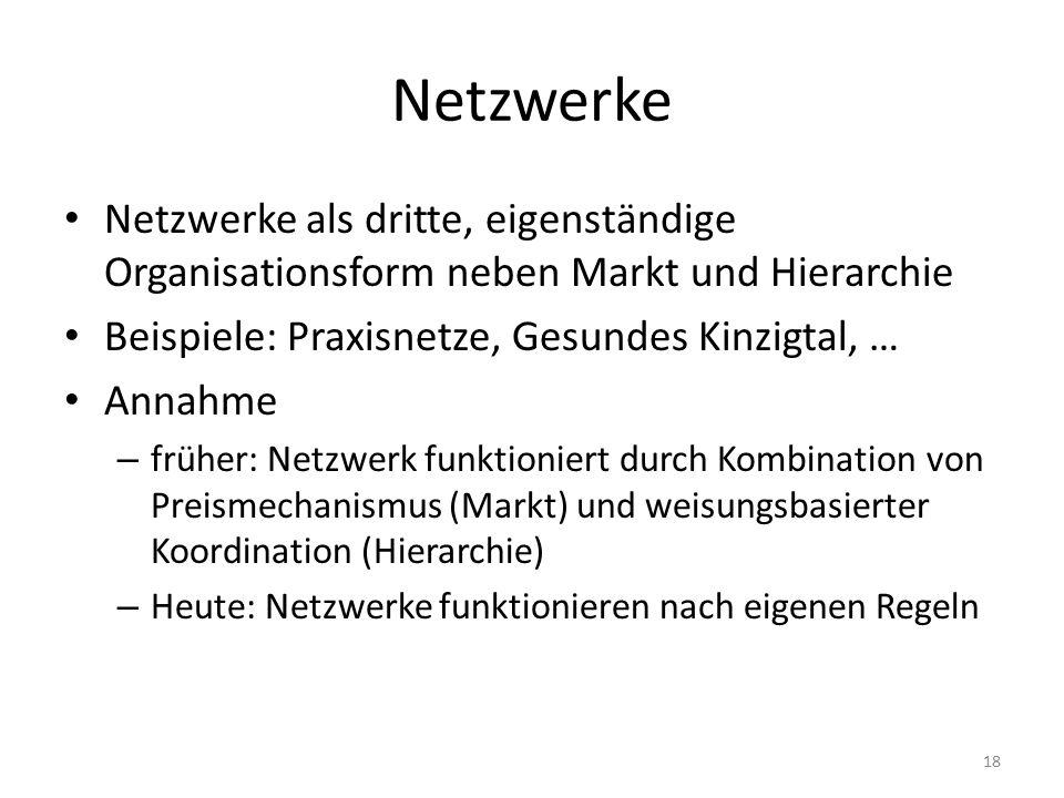 Netzwerke Netzwerke als dritte, eigenständige Organisationsform neben Markt und Hierarchie Beispiele: Praxisnetze, Gesundes Kinzigtal, … Annahme – früher: Netzwerk funktioniert durch Kombination von Preismechanismus (Markt) und weisungsbasierter Koordination (Hierarchie) – Heute: Netzwerke funktionieren nach eigenen Regeln 18
