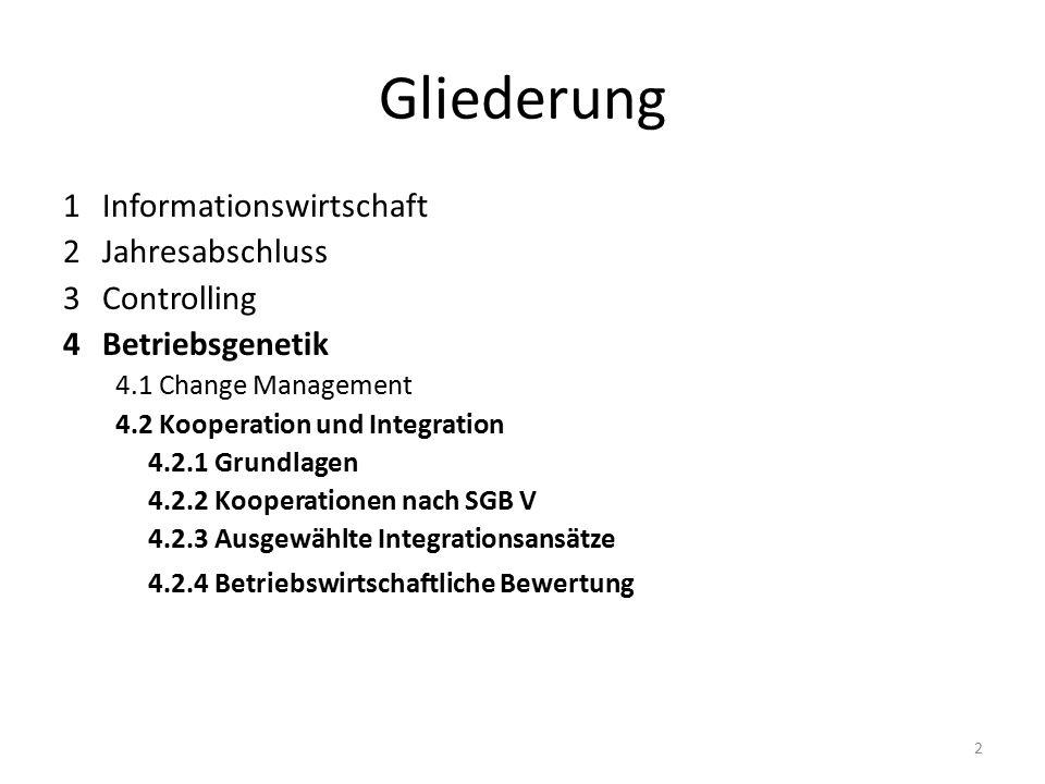 Gliederung 1Informationswirtschaft 2 Jahresabschluss 3 Controlling 4Betriebsgenetik 4.1 Change Management 4.2 Kooperation und Integration 4.2.1 Grundlagen 4.2.2 Kooperationen nach SGB V 4.2.3 Ausgewählte Integrationsansätze 4.2.4 Betriebswirtschaftliche Bewertung 2