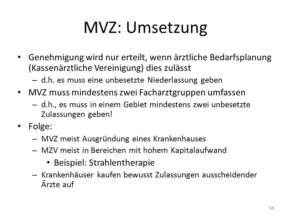MVZ: Umsetzung Genehmigung wird nur erteilt, wenn ärztliche Bedarfsplanung (Kassenärztliche Vereinigung) dies zulässt – d.h.