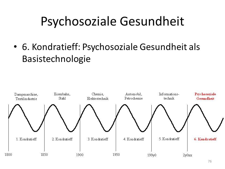 Psychosoziale Gesundheit 6. Kondratieff: Psychosoziale Gesundheit als Basistechnologie 76