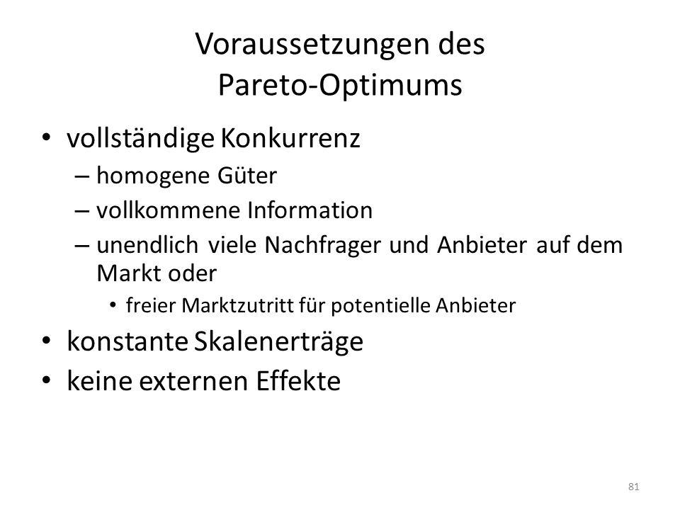 Voraussetzungen des Pareto-Optimums vollständige Konkurrenz – homogene Güter – vollkommene Information – unendlich viele Nachfrager und Anbieter auf dem Markt oder freier Marktzutritt für potentielle Anbieter konstante Skalenerträge keine externen Effekte 81