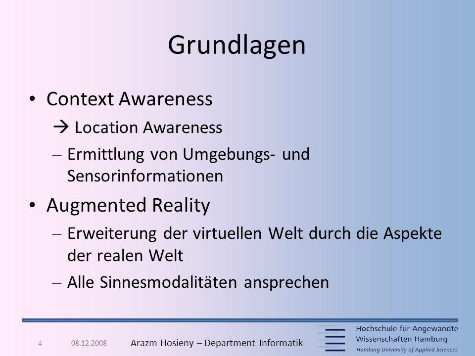 4 Arazm Hosieny – Department Informatik Grundlagen Context Awareness  Location Awareness – Ermittlung von Umgebungs- und Sensorinformationen Augmente