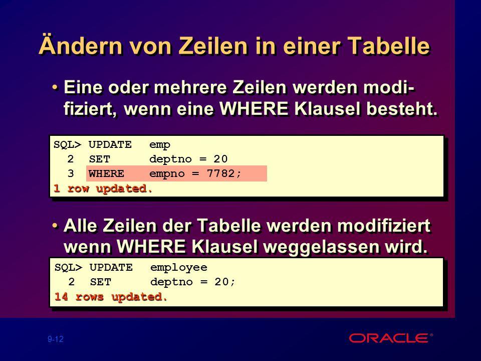 9-12 Ändern von Zeilen in einer Tabelle Eine oder mehrere Zeilen werden modi- fiziert, wenn eine WHERE Klausel besteht.