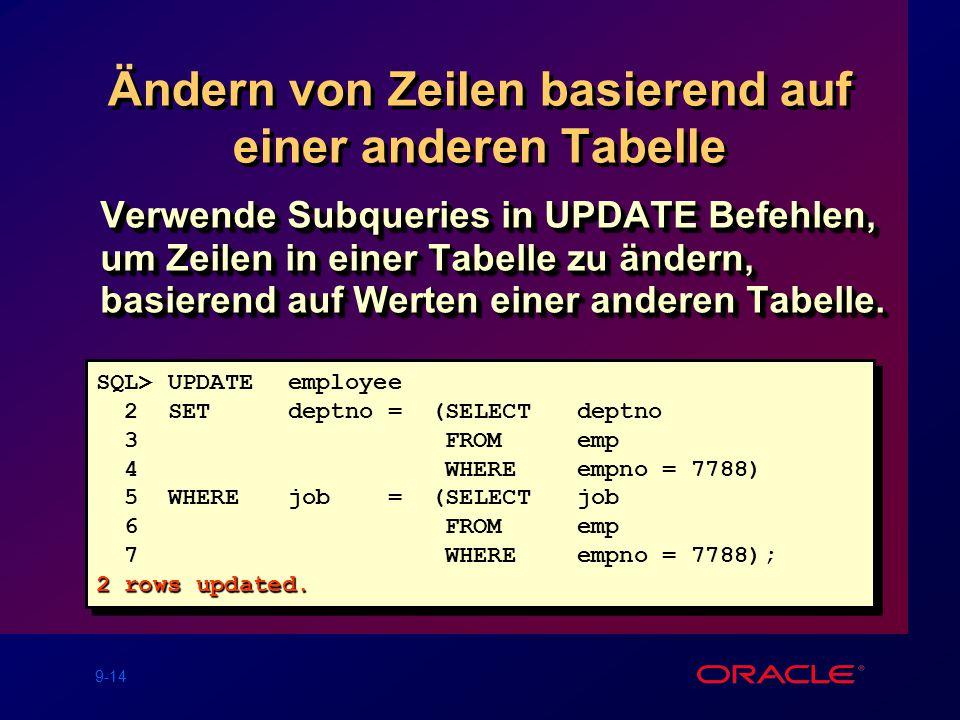 9-14 Ändern von Zeilen basierend auf einer anderen Tabelle Verwende Subqueries in UPDATE Befehlen, um Zeilen in einer Tabelle zu ändern, basierend auf Werten einer anderen Tabelle.