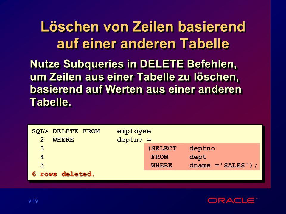 9-19 Löschen von Zeilen basierend auf einer anderen Tabelle Nutze Subqueries in DELETE Befehlen, um Zeilen aus einer Tabelle zu löschen, basierend auf Werten aus einer anderen Tabelle.