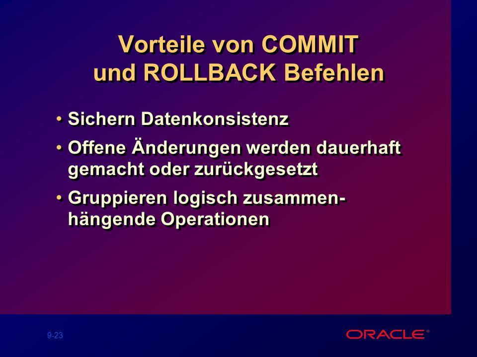 9-23 Vorteile von COMMIT und ROLLBACK Befehlen Sichern Datenkonsistenz Offene Änderungen werden dauerhaft gemacht oder zurückgesetzt Gruppieren logisch zusammen- hängende Operationen Sichern Datenkonsistenz Offene Änderungen werden dauerhaft gemacht oder zurückgesetzt Gruppieren logisch zusammen- hängende Operationen