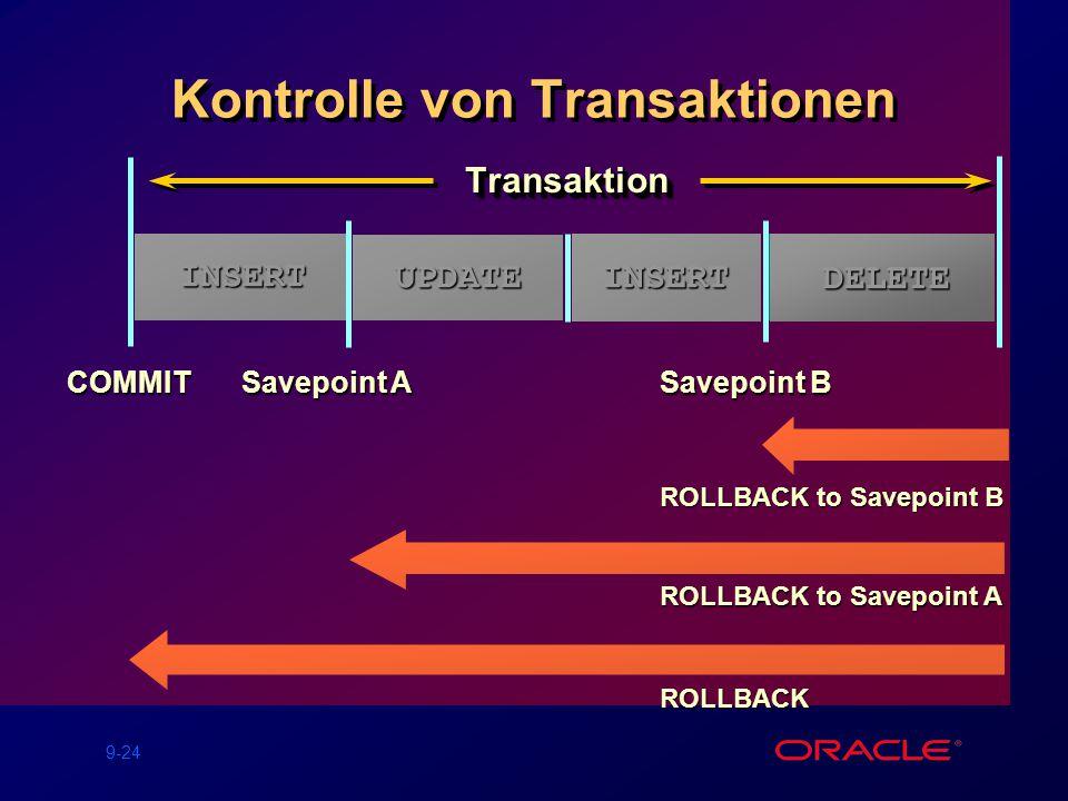 9-24 DELETE Kontrolle von Transaktionen TransaktionTransaktion Savepoint A ROLLBACK to Savepoint B DELETE Savepoint B COMMIT INSERT UPDATE ROLLBACK to Savepoint A INSERTUPDATE INSERT ROLLBACK INSERT